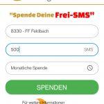 gewünschte Feuerwehr, sowie Höhe der zu spendenden SMS auswählen, Wunschintervall festlegen